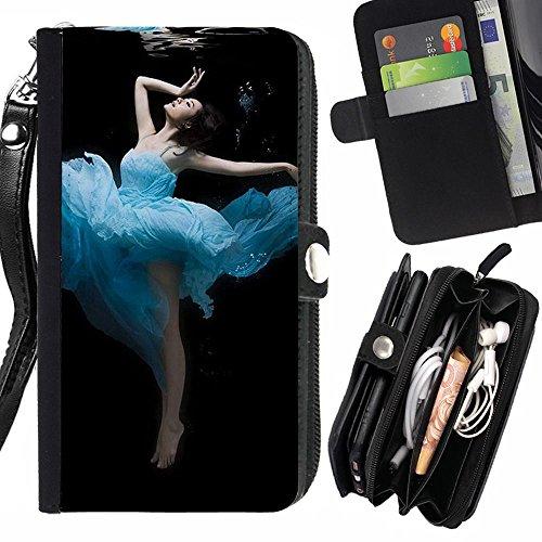 Peach Tech Portafoglio in pelle della Carta di Credito fessure PU Holster Cover in pelle case Huawei P8 Lite (Not for P8) / Dance Undersea Beauty