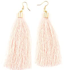 Sorella'z Pink Threaded Bohemian Earrings for Women's
