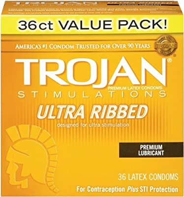 Trojan Condom Stimulations Ultra Ribbed Lubricated 36 Pc