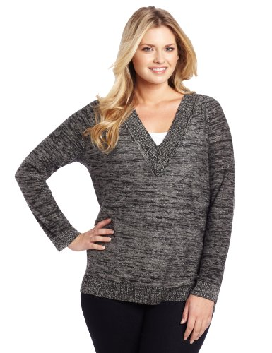 Jones New York Women's Plus-Size V-Neck Tunic Sweater