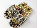 天然石 健康サンダル 足つぼ マッサージ ハサミで切れる靴の中敷き(インソール)付き (24.5CM)