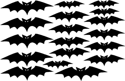 Halloween Bats 18Pcs Sticker Set - Removable Decoration Wall Sticker For Home. Cute Wall Art Wall Quote Wall Saying front-1015962