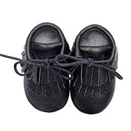 Voberry® Moccasins Tassel Shoes Firstwalker Boots Leather Shoes for Baby Toddler (18~24 Month, Black)
