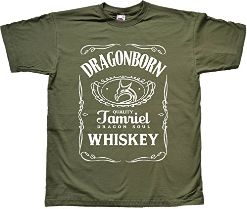 DragonBorn Whisky divertenti Nero T Shirt Verde T Shirt Medium