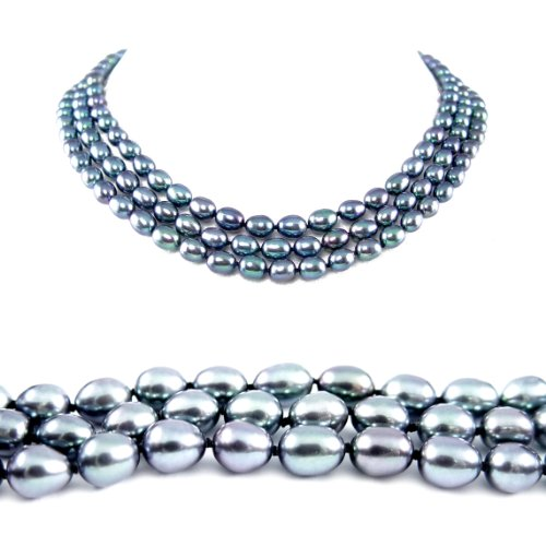 AugustinaJewelry Triple Strand 16-18 Inches 6-7mm Black Oval Shape Freshwater Cultured Pearl Necklace