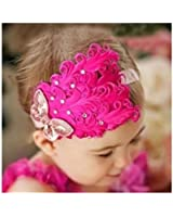 1 Pc Hot Pink- Lovely Feather Head Wear Headband for Baby Newborn Toddler Girls