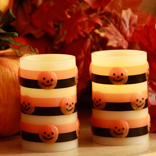 [Halloween Flameless Pumpkin Candle Set of Two Battery Operated Candles] (Halloween Candles)