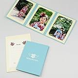 写真台紙 記念写真のプレゼントに最適 ポケット台紙タント『Memories/エンゼルハート』L3面(タテ・タテ・タテ) (ブルー)