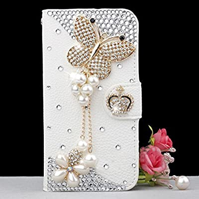 iPhone 5/5s Wallet Case, LA GO GO(TM) Handmade Luxury 3D Bling Crystal Rhinestone Wallet Leather Purse Flip Card Pouch Stand Cover Case for Apple iPhone 5 5s 5g (Pearl Butterfly, iPhone 5/5s) from LA GO GO