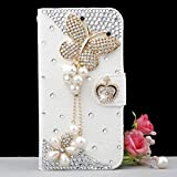 Luxury 3D Fashion Bling Diamond Bow PU Flip Wallet Leather Case Cover For Smart Mobile Phones (ZTE ZMax Z970 , Butterfly )