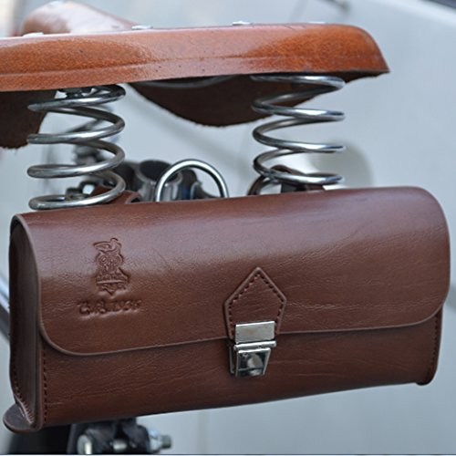 OLizee™ Vintage Style PU Leather Bike Saddle Bag Seat Bag Tail Pouch 1