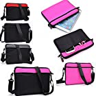 Protective Messenger bag with front pockets in Magenta Pink and Black - Universal design fits Flytouch 9 10.1 Dual Core