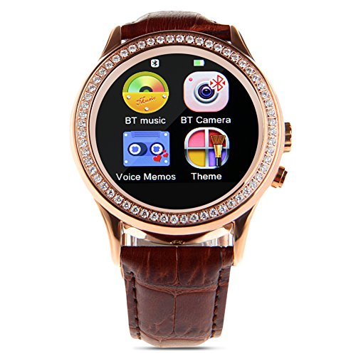 Padgene Stylish Bluetooth Leather Diamond Smart Watch with Heart Rate for Samsung, LG, HTC, Snoy and Other Android Smartphones, Rose Gold and Brown