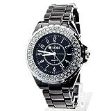 Yesurprise Glow Series Luxury Fashion Lady Crystal Diamond Quartz Watch -Black