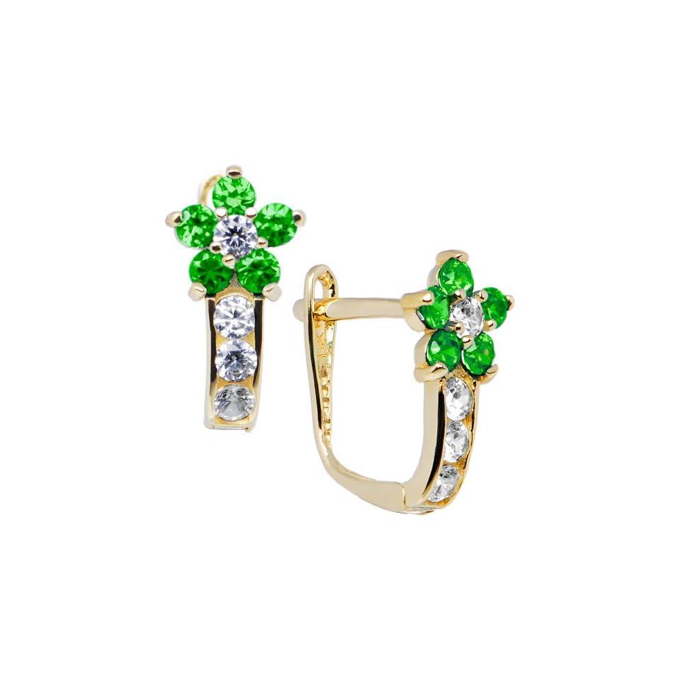 14K Yellow Gold Emerald Green Cubic Zirconia Flower Earrings