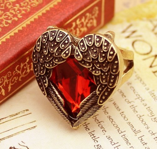 Lingstar(TM) Retro Bronze Red Heart Ring Vintage