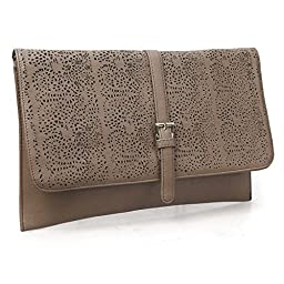 BMC Decorative Ornate Cut Out Design Chocolate Brown Faux Leather Fashion Statement Envelope Clutch