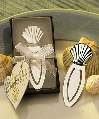 Beach Themed Chrome Seashell Bookmark Wedding Favors, 36