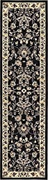 Country Traditional 2 feet by 8 feet (2\' x 8\') Runner Kashan Black Area Rug