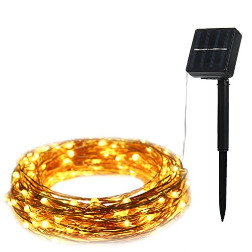 ILLUNITE LED Solar String Lights 33ft 100leds Bendable Copper Wire Lights for Christmas Wedding Party Home Decoration (Vintage Metal Cooler compare prices)