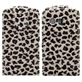 Wayzon Organic PU Leather Flip Case Cover Skin Pouch Shell Holster Built In Hard Plastic Holder Housing Brown Furry Leopard Design For Samsung Galaxy Y S5360 Phone