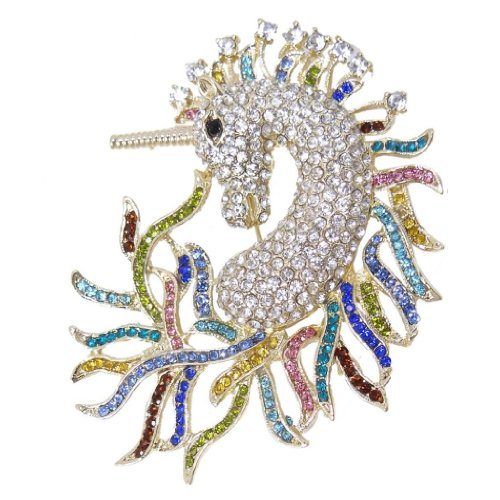 Gold-Tone Horse Unicorn Brooch Multicolor Austrian