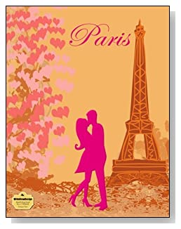 Kissing In Paris Notebook - For the pink Paris-loving romantic! A couple kissing at the Eiffel Tower is the focal point of the cover of this blank and college ruled notebook with blank pages on the left and lined pages on the right.