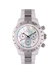Toy Watch Women's 18207-SL Heavy Metal Plasteramic White Bracelet Mother-Of-Pearl Chronograph Dial Watch