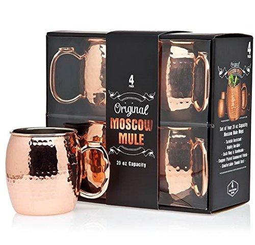 Jacky's Original Handmade Copper Moscow Mule Mug, Gift Set of 4 20 Oz Mugs, Free Recipe Book Included (Recipe Book Set compare prices)