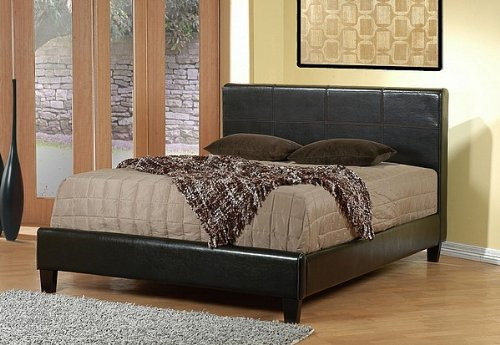 Contemporary Leather-Like Eastern King Size Platform Bed
