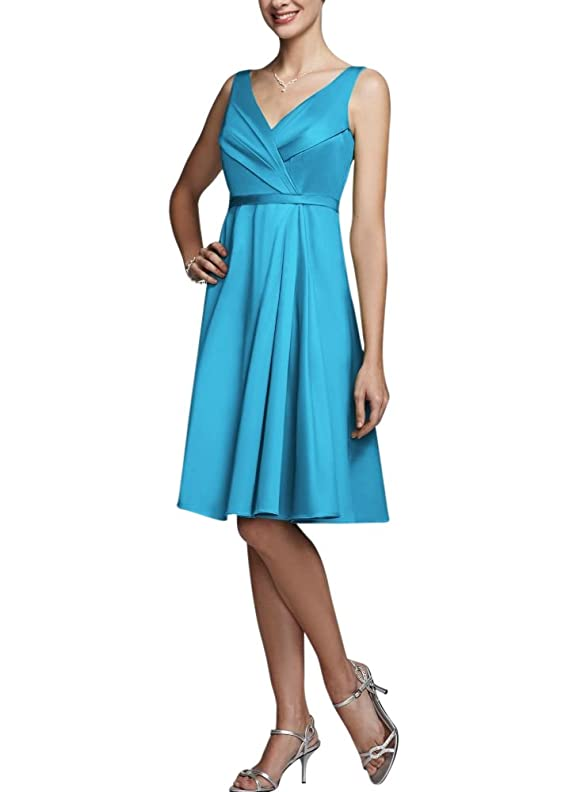 David's Bridal Women's Sleeveless V-Neck Cotton Sateen Dress