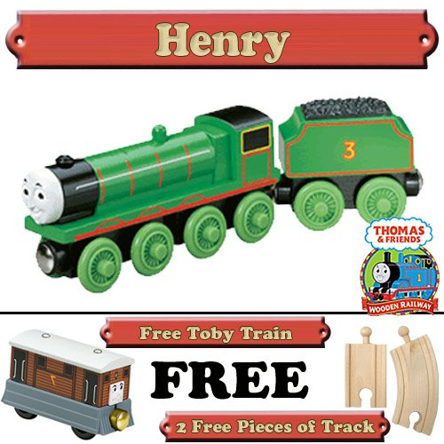 Henry from Thomas The Tank Engine Wooden Train Set - Free 2 Pieces of Track & Free Toby Train