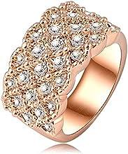 Comprar AnaZoz Joyería de Moda 18K Chapado en Oro Rosa Anillos de Compromiso /Anillos de Zafiro Cristal Austria