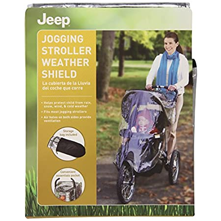 Protect your baby from the elements with this rugged weather shield from Jeep. It features air holes on both sides for ventilation and a convenient essentials pocket. Storage bag also included. Fits most strollers with a canopy. Wipes clean. Made in ...
