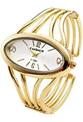 Top Plaza Womens Fashion Bangle Cuff Bracelet Quartz Watch, Oval Face Gold Tone - Silver Face