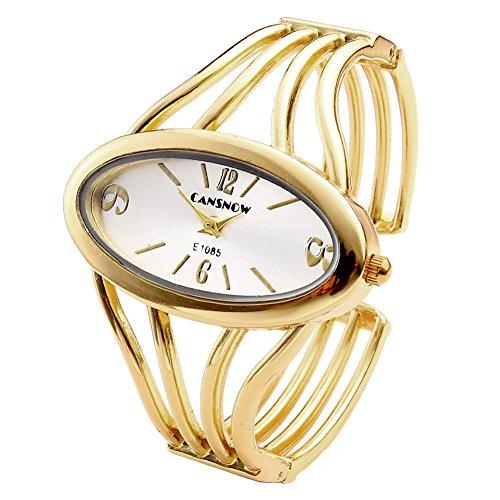 Top Plaza Top Plaza Womens Fashion Bangle Cuff Bracelet Quartz Watch, Oval Face Gold Tone - Silver Face