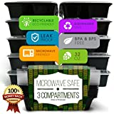 Lunch Box Bento Food Storage Container - with 3 Compartments Meal Prep (Sets of 10) by Enzo offers a Green No BPA, BPS Free, Recyclable, Microwave Safe, Dishwasher friendly, Stack-able. Easy to Clean, Great Choice for Home Cooks and Dieters. Start controlling your diet today!