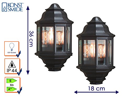 konstsmide-cagliari-black-aluminium-clear-glass-set-of-2-outdoor-wall-light-2-x-e27-socket-ip44-7238