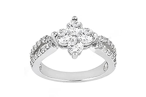 1.08 ct. high quality Diamond wedding ring white gold