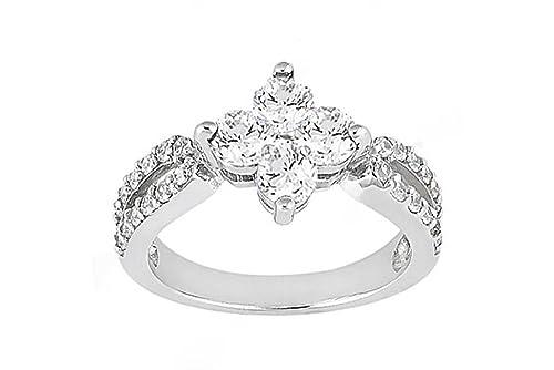 1.08 ct. high quality Diamond wedding ring white gold