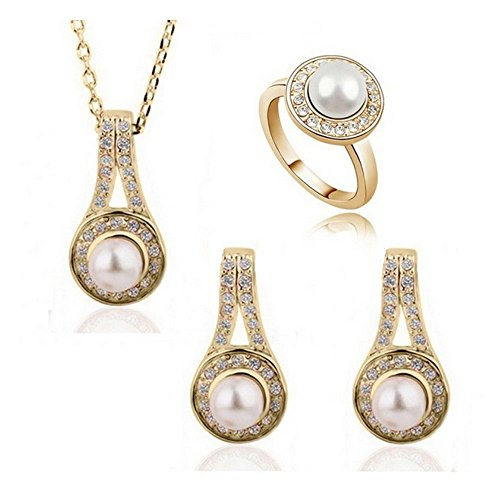 MNH Hot Fashion Elegant Pearl Jewelry Set–Forever Ture Love (Color:golden white)