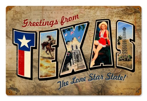Texas Postcard Home and Garden Vintage Metal