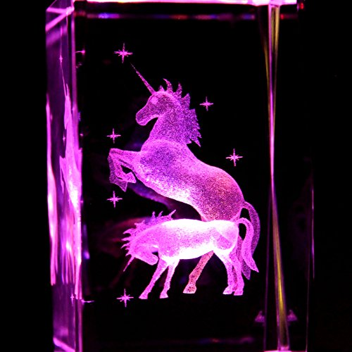 Unicorns 3D Laser Etched Crystal + Rotating Display Light Base With 7 Multi Color Led'S