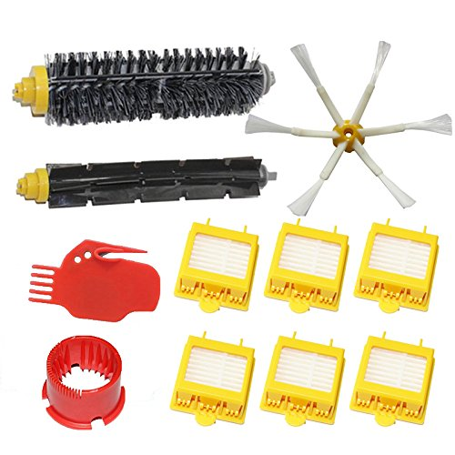 Shp-Zone Vacuum Cleaner Accessory Kit Replacement -Kit Includes: 6 Hepa Filters, 1 Side Brush 6-Armed, 1 Flexible Beater Brush, 1 Bristle Brush , 2 Brush Cleaning Tools For Irobot Roomba 700 Series 760 770 780 790 front-543338