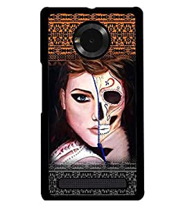 PRINTSWAG GIRL WITH SKELETON Designer Back Cover Case for MICROMAX YUPHORIA