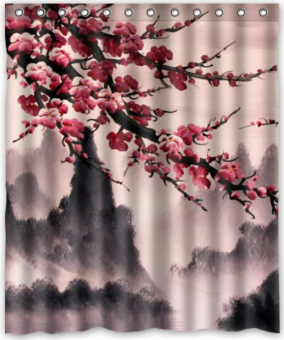 ... Cherry Blossom Waterproof Shower Curtain,
