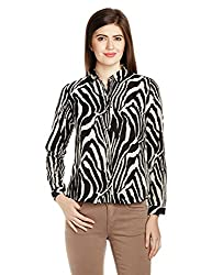 Van Heusen Womens Button Down Shirt (VWSF515D01177Long Sleeve_Black and White_XS)