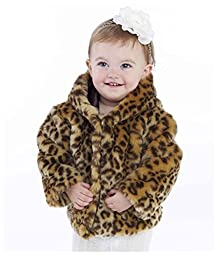 Mud Pie Baby Girls\' Leopard Faux Fur Coat, Multi Colored, 0 6 Months