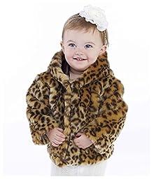 Mud Pie Baby Girls\' Leopard Faux Fur Coat, Multi Colored, 0 6 Months