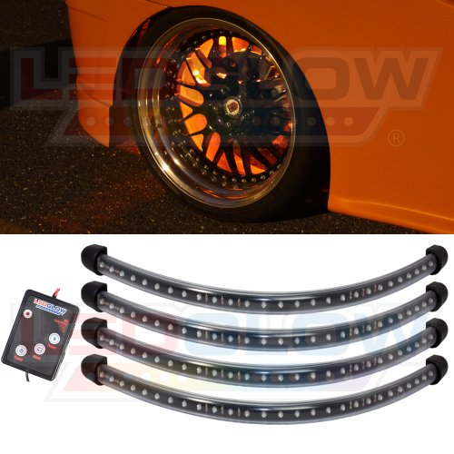 4Pc Orange Flexible Led Wheel Well Fender Light Kit